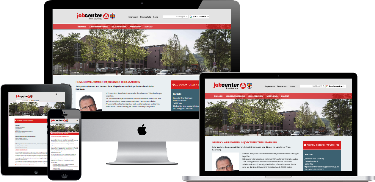 Screenshot Website Jobcenter Trier-Saarburg & Jobcenter Trier-Stadt
